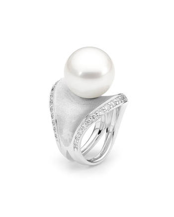 18ct WG Pearl and Diamond Ring - Dune