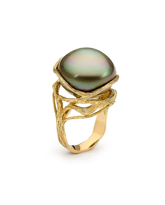 18ct YG Pearl and Diamond Ring - Entwined II