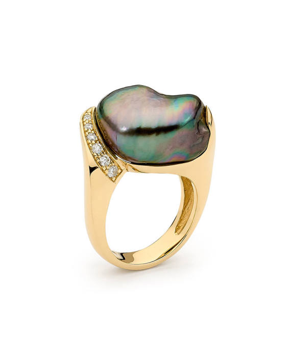 18ct YG Pearl and Diamond Ring - Exotic Luxe