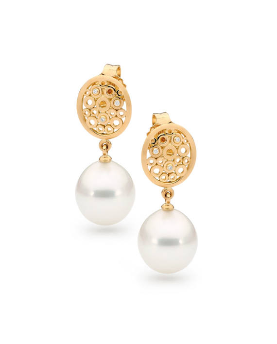 18ct Yellow Gold Pearl Earrings - Labyrinth