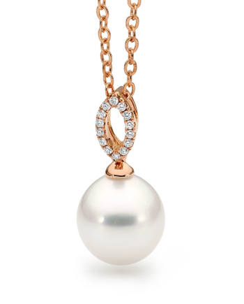 18ct Rose Gold Pearl Pendant with Diamonds