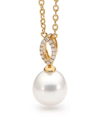 18ct Yellow Gold Pearl Pendant with Diamonds