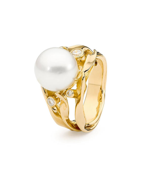 18ct YG Pearl and Diamond Ring - Seagrass
