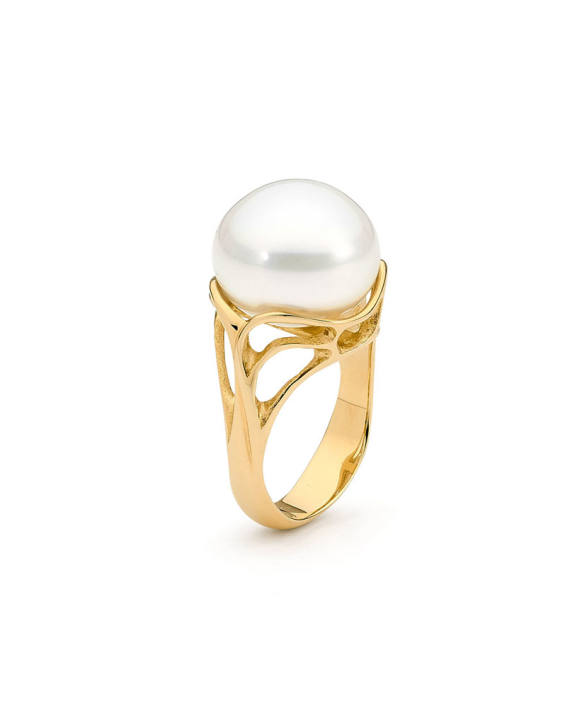 18ct YG Pearl Ring - Entwined I