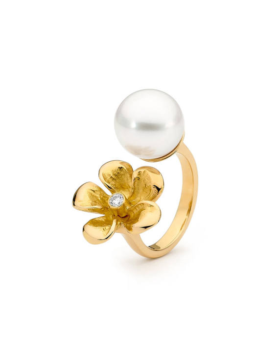 18ct YG Pearl and Diamond Ring - Tropical Bloom