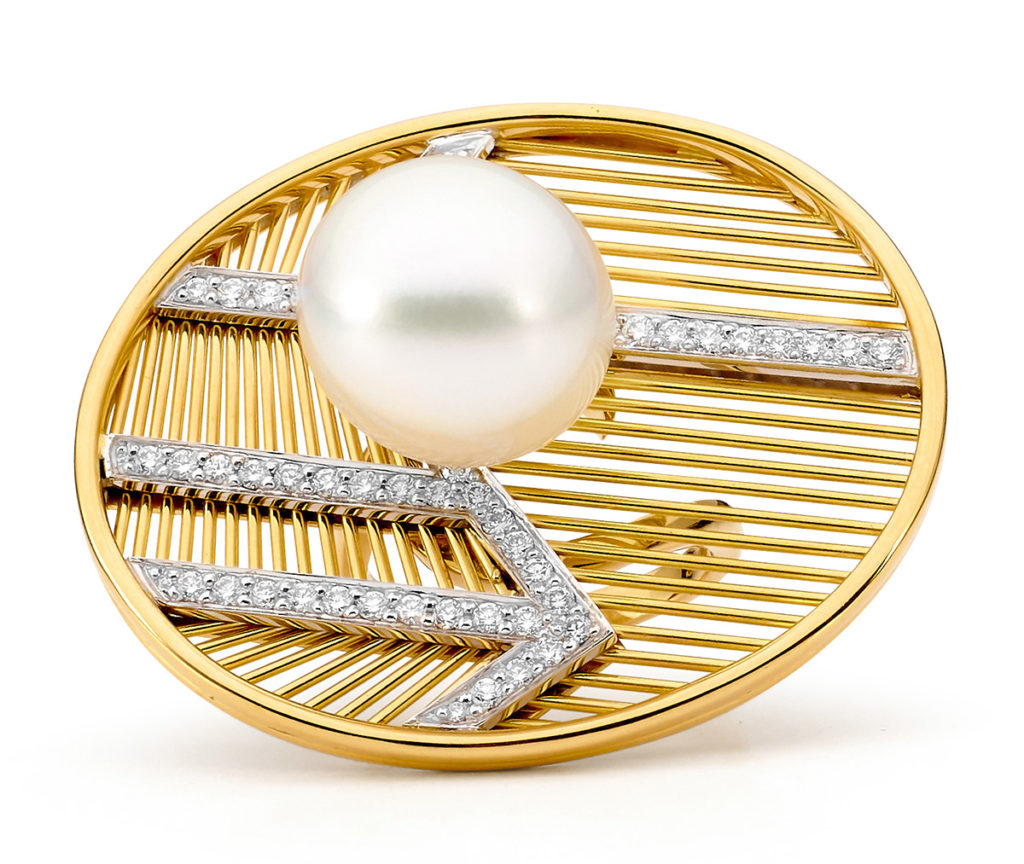 Allure South Sea Pearls Couture yellow gold pearl and diamond ring