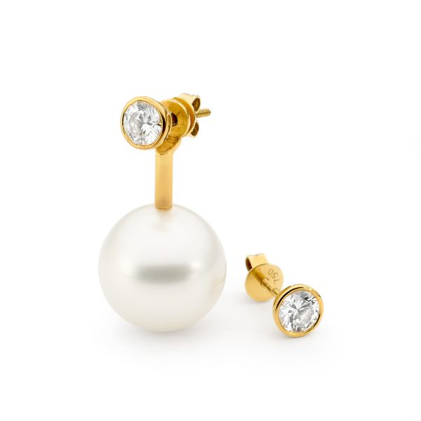 Yellow Gold, Pearl And Detachable Diamond Earrings