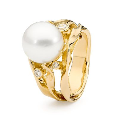 Yellow Gold Seagrass Ring