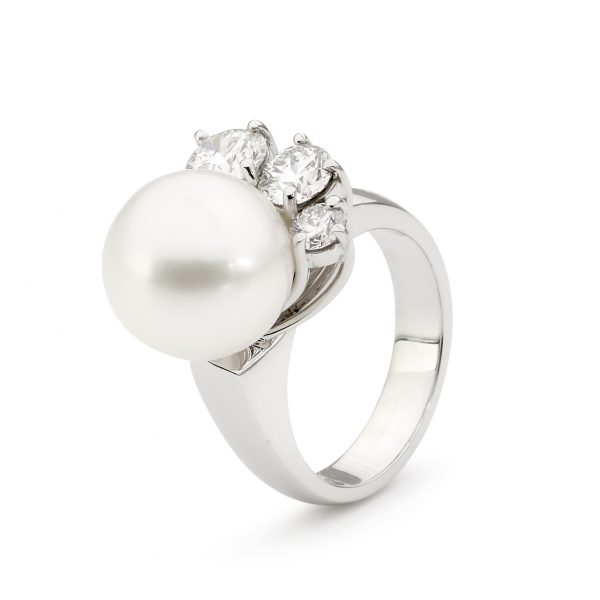 White Gold Pearl And Diamond Ring