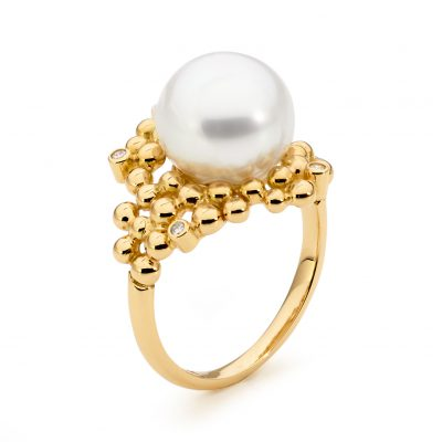 Yellow Gold, Pearl And Diamond Ring
