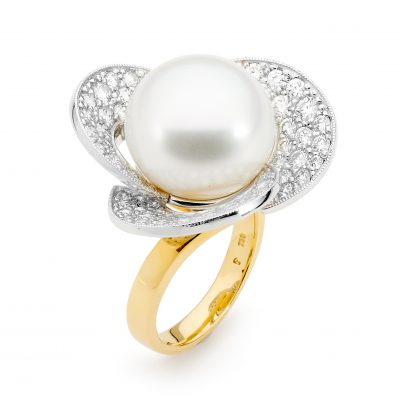 Yellow And White Gold, Pearl And Diamond Ring