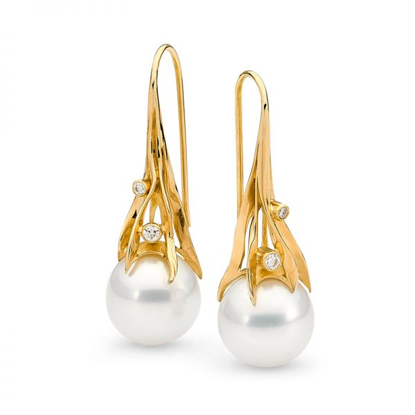 Yellow Gold Seagrass Earrings