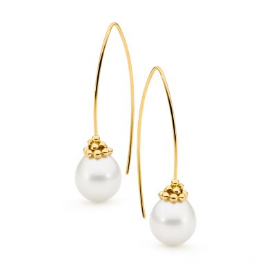Yellow Gold Pearl Earrings