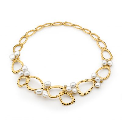 Yellow Gold, Pearl And Diamond Necklet