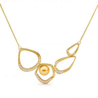 Yellow Gold, Pearl And Diamond Necklace