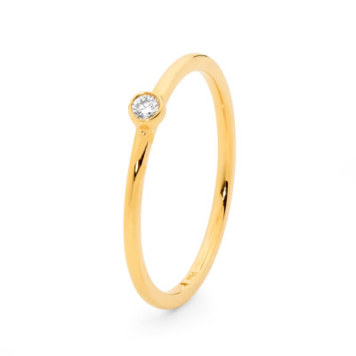 Yellow Gold Rounded Band Rub Set Diamond Ring