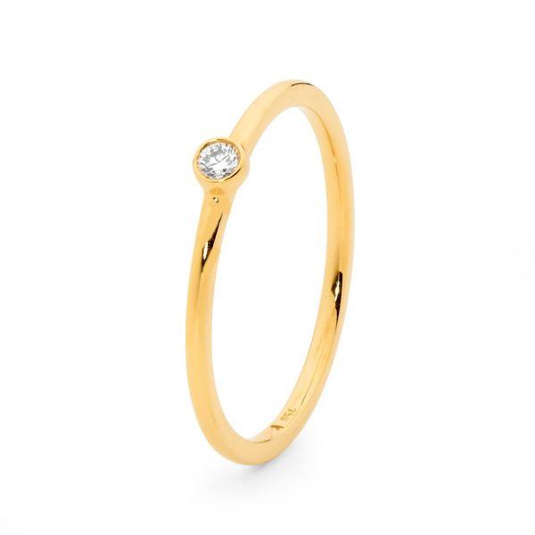 Yellow Gold Rounded Band Rub Set Diamond Ring