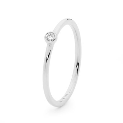 White gold plain rounded band rub set diamond ring