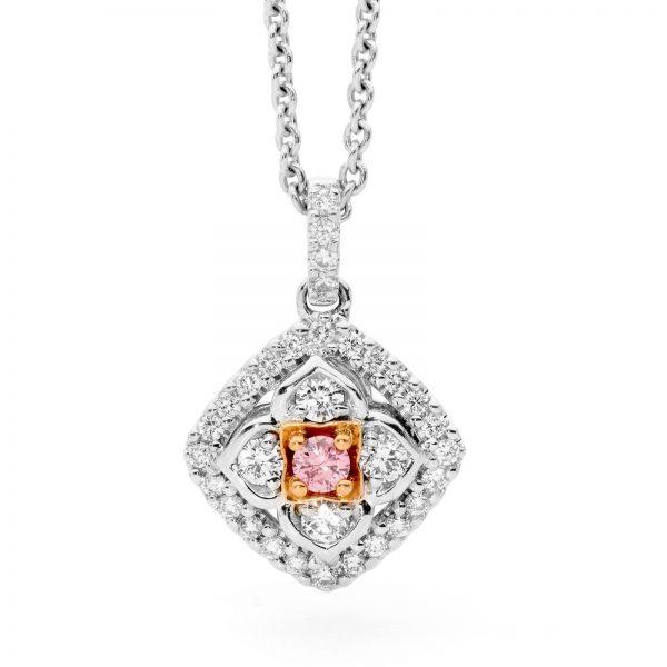 white and Argyle pink diamond pendant