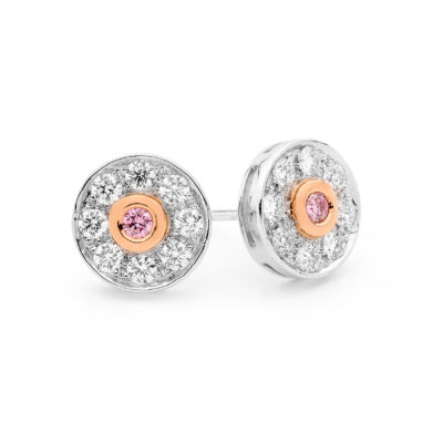 white and Argyle pink diamond stud earrings