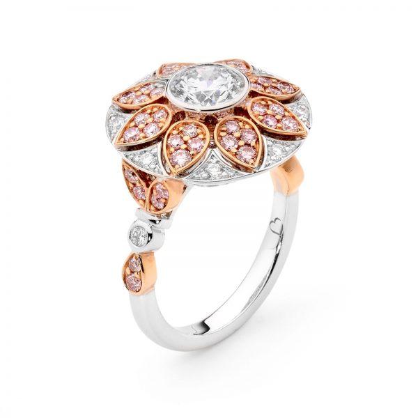 Art Deco white and Argyle pink diamond ring