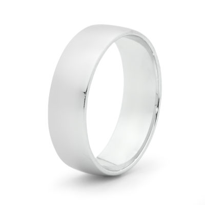 mens white gold barrell ring