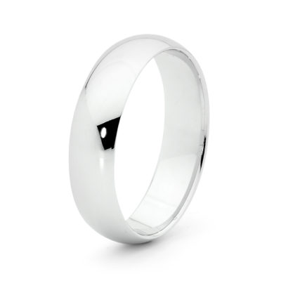 Mens Dome White Gold Ring