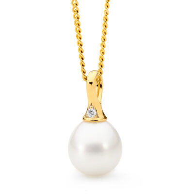 Diamond Pearl Gold Pendant