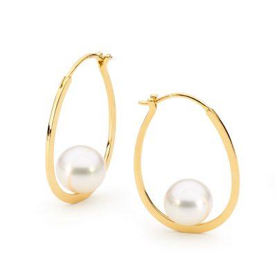 gold white pearl hoop earrings