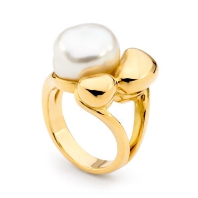 Keshi Pearl Ring Gold
