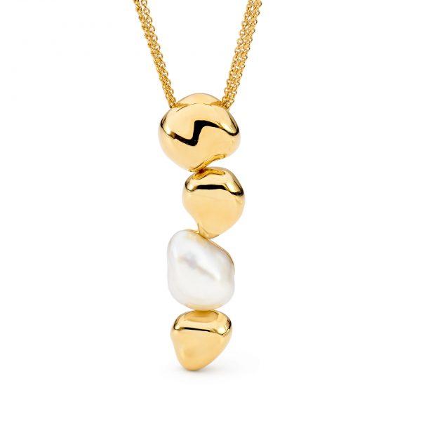 Gold Baroque Keshi Pendant