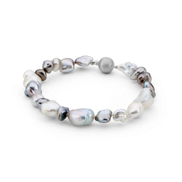 silver keshi bracelet
